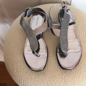 Sparkly silver sandals